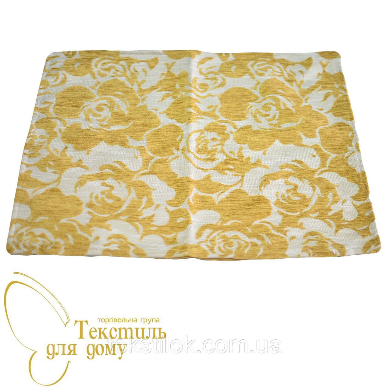 Наволочка декоративная рельефные цветы BURGAZ, 50*70, желтый