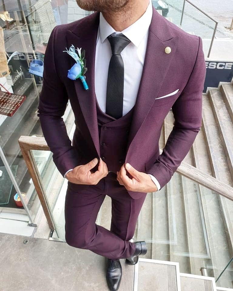 6709fd5c5e893 Мужской классический костюм-тройка марсал: продажа, цена в ...