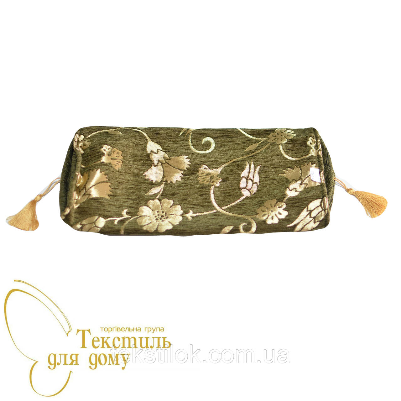 Наволочка декоративная валик с золотым цветком ANTIK KARANFIL, оливковый