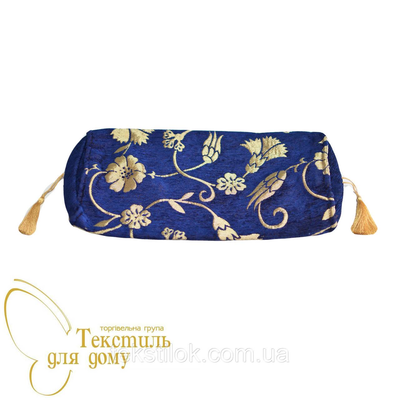 Наволочка декоративная валик с золотым цветком ANTIK KARANFIL, синий