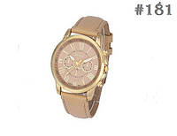 Женские кварцевые наручные часы / годинник Geneva бежевого цвета (181)