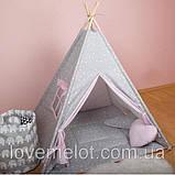 Детская палатка с окном + коврик + 2 подушки, вигвам для детей, шалаш для деток, палатка для девочки, фото 2