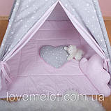 Детская палатка с окном + коврик + 2 подушки, вигвам для детей, шалаш для деток, палатка для девочки, фото 4