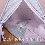 Детская палатка с окном + коврик + 2 подушки, вигвам для детей, шалаш для деток, палатка для девочки, фото 3