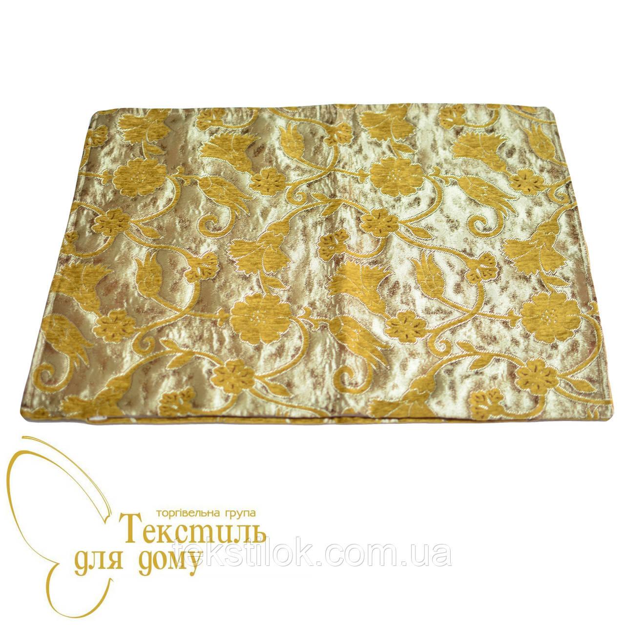 Наволочка декоративная с золотым цветком ANTIK KARANFIL, 50*70, желтый