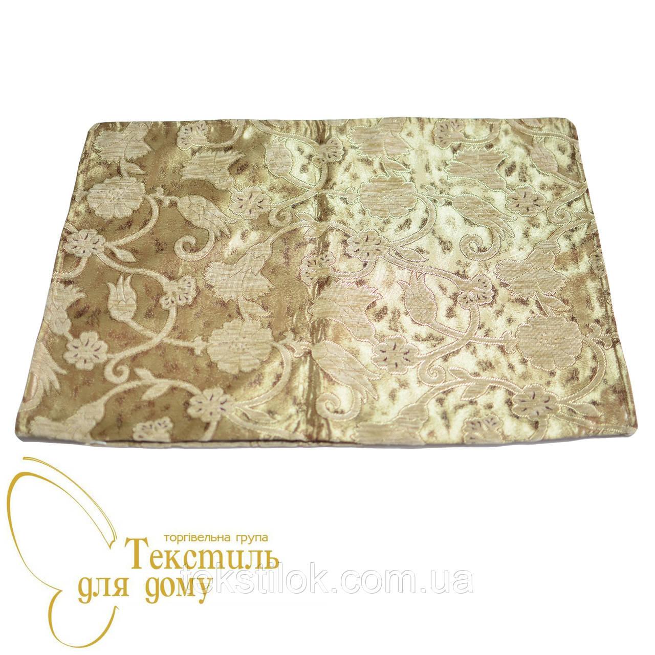 Наволочка декоративная с золотым цветком ANTIK KARANFIL, 50*70, бежевый