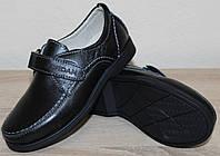 Туфли кожаные черные школьные на липучке от производителя модель ДЖ-3743