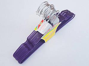 Плечики детские металлические в силиконовом покрытии цвета фиолетовый металлик, 29,5 см, 10 штук в упаковке