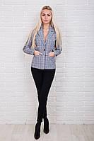 Клетчатый женский пиджак в деловом стиле черного цвета