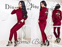 Стильный женский велюровый костюм двойка Gucci бордовый  42 44