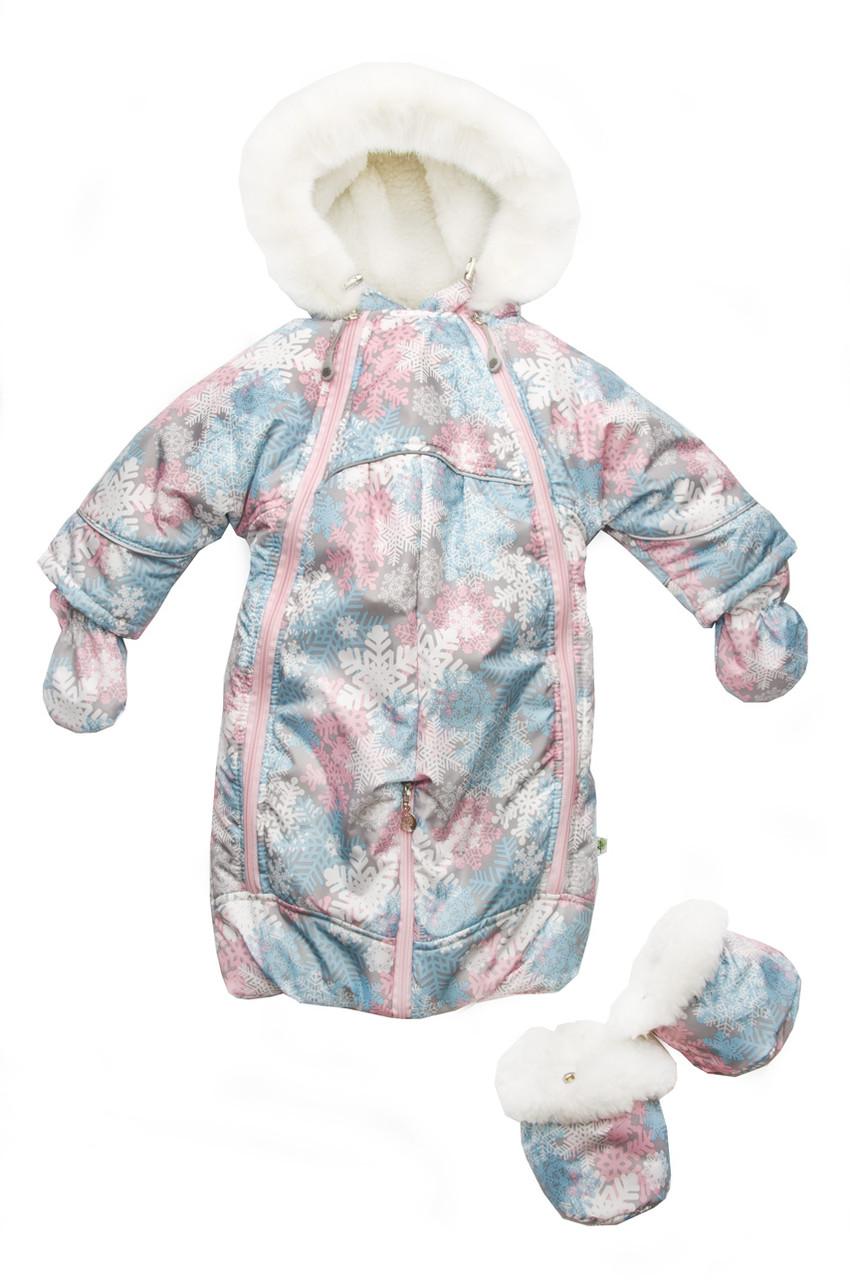 Меховой комбинезон-трансформер для девочки «Снежинки», Модный карапуз