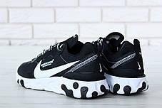 Кроссовки мужские Undercover x Nike React Element 87 черно-белые топ реплика, фото 2