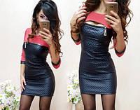 Платье из эко кожи  с молнией для девушек