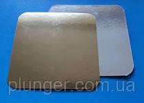 Подложка квадратная под торт 17х17 см золото/серебро