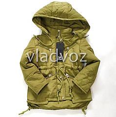Детская демисезонная утепленная куртка для девочек хаки 5-6 лет