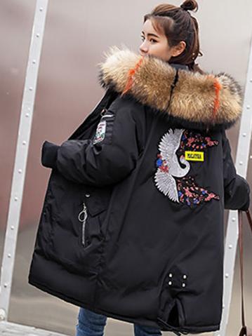 Куртка зимняя женская пуховик с аппликацией (цвет черный)