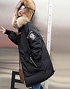 Куртка зимняя женская пуховик с аппликацией (цвет черный), фото 2