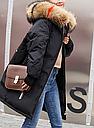 Куртка зимняя женская пуховик с аппликацией (цвет черный), фото 3