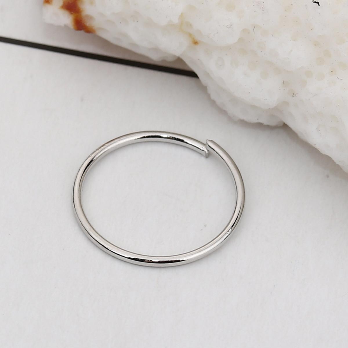 Колечко, Разрезное, Круглое, Медь, Серебряный тон, 13 мм, 0.8 мм