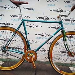 """Велосипед FIX 28"""", зелёная рама, золотые обода и система шатунов"""
