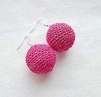 """Серьги шарики ручной работы """"Розовые сны"""""""