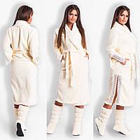 Шикарный халат с кружевами плюс махровые сапожки, фото 1
