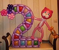 Цифра из воздушных шариков с котом
