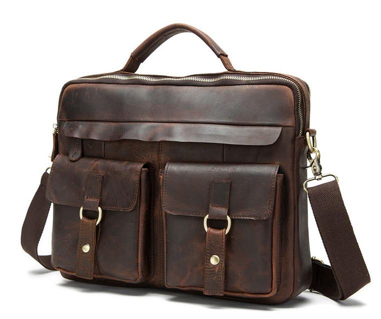 5a9df8d99eb1 Мужская винтажная casual кожаная коричневая сумка портфель ручная работа