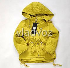 Детская демисезонная утепленная куртка парка для девочек горчичная 7-8 лет