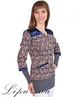 Женский пиджак больших размеров 1006 синий #O/V