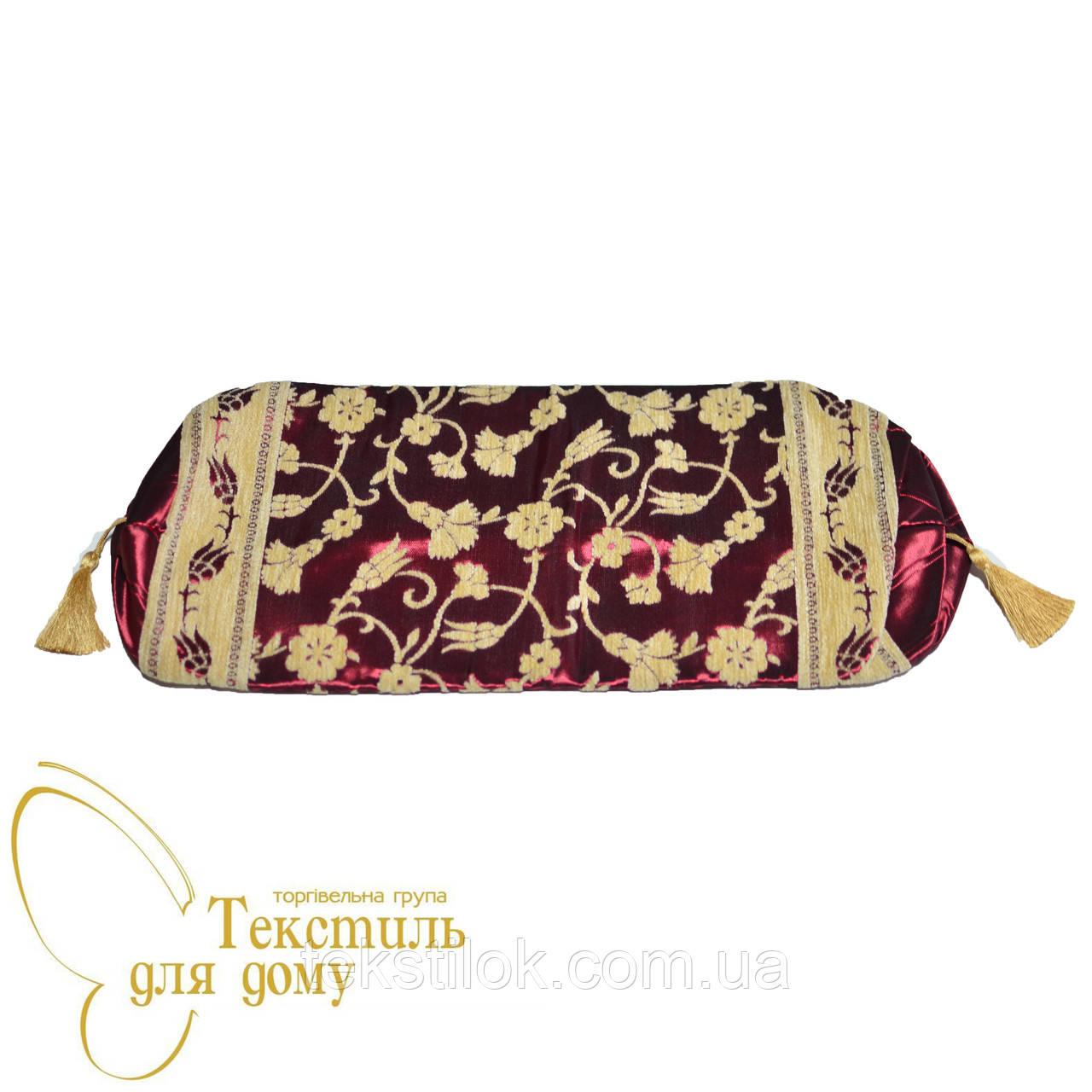 Наволочка декоративная валик, велюр рисунок по шелку, бордо