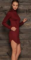 Трикотажное платья под горло с длинным рукавом