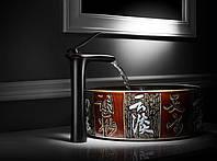 Смеситель высокий в ванную для умывальника чаши черный 0509, фото 1