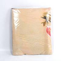 Бежевое постельное белье с абстракцией двуспалное из дешевой бязи