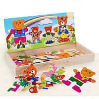 """Деревянный набор пазлы """"Семья мишек"""", у каждого свой набор одежды, в коробке"""