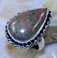 Унакит красивое кольцо с унакитом яшма в серебре. Размер кольца 18. Индия, фото 1