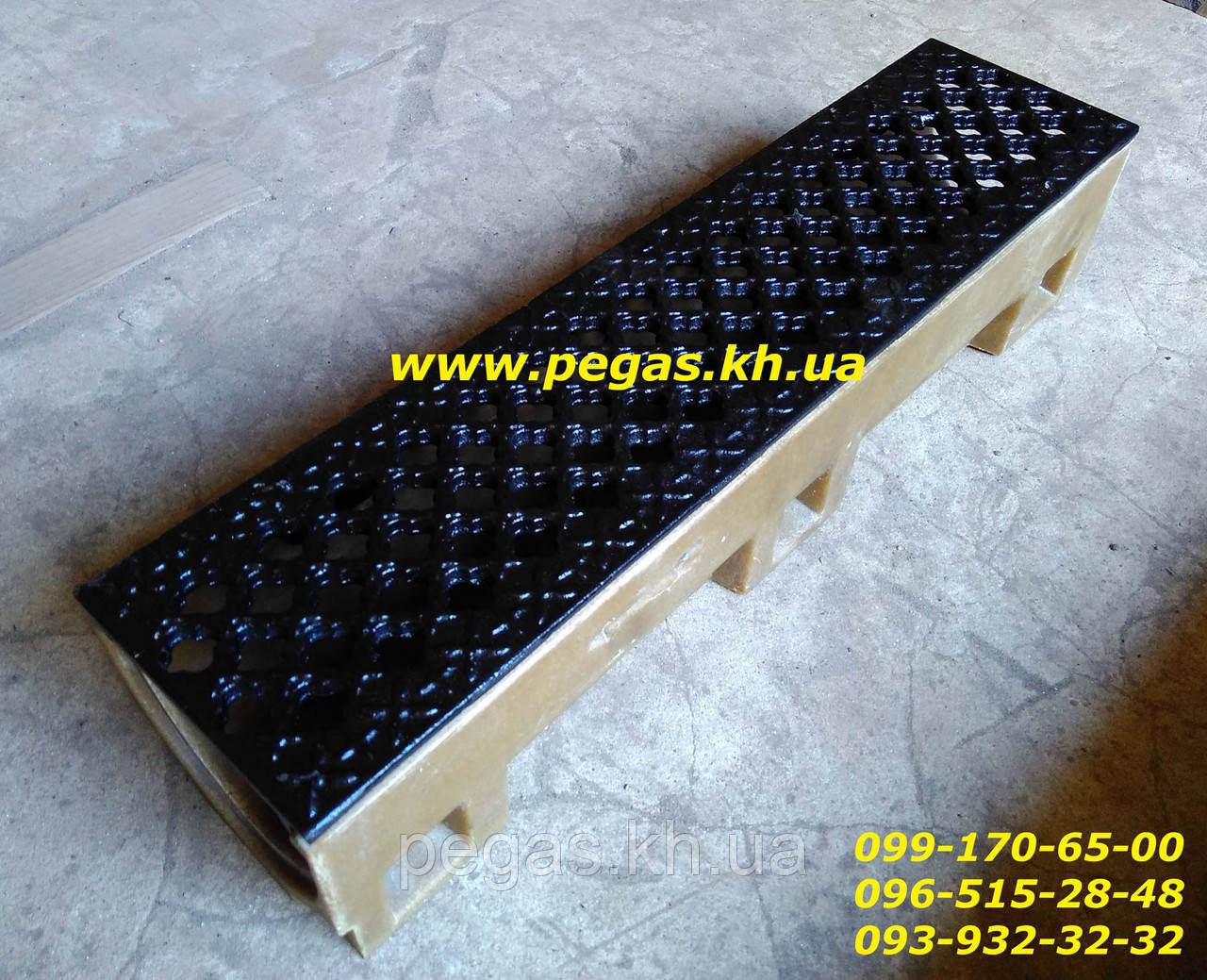 Лівневка чавунна водовідведення, водостік полімербетон 500х120х100 мм. (декор)