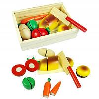 """""""Вкусный завтрак"""" деревянная развивающая игра, детский  нож, продукты, на липучке,  в коробке"""