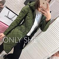 Куртка женская стеганная с капюшоном синтепон 200