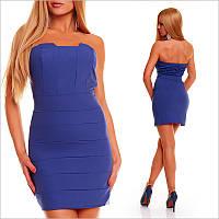 Синее платье-бандо