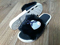Женские тапочки пушистые черные