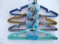 Вешалки металлические хромированные с силиконом для одежды в шкаф  10 штук