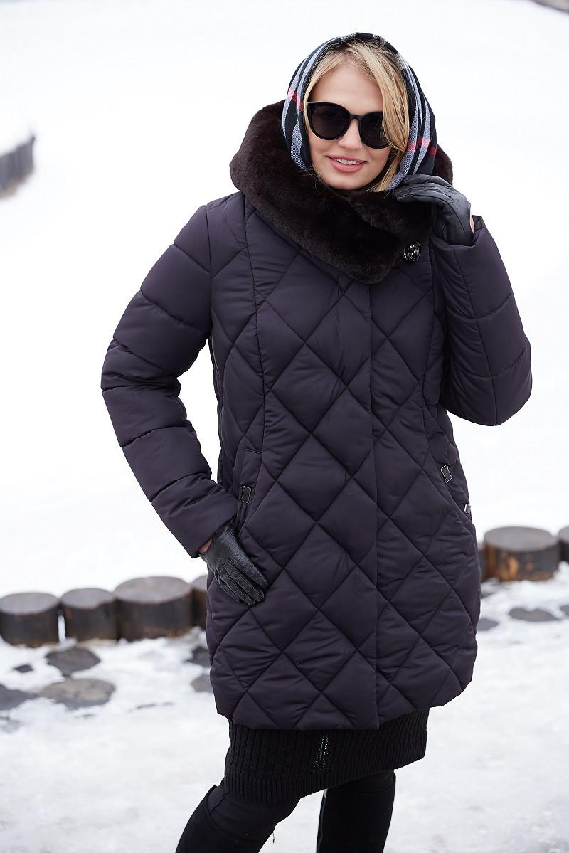 Стеганный женский пуховик–курткас капюшоном Valensiya (50–64р) в расцветках