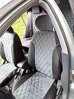 Авточехлы из экокожи Автолидер для  Audi 100 (C 3) с 1982-1991г. седан,универсал черный с серой алькантарой РОМБ