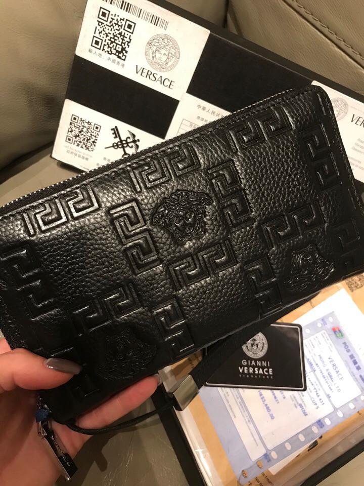Кошелёк-барсетка кожа с логотипами в стиле Versace
