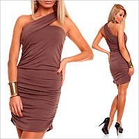 Коричневое платье с оригинальной спинкой