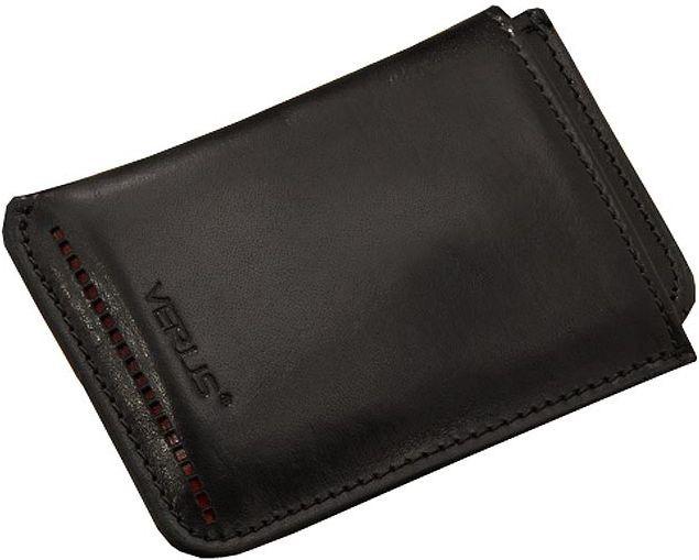 Кожаный чехол для визиток Verus черный