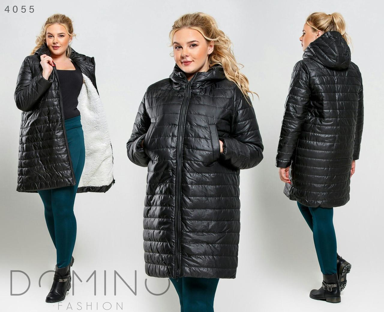 Пальто зимнее женское большие размеры на овчине