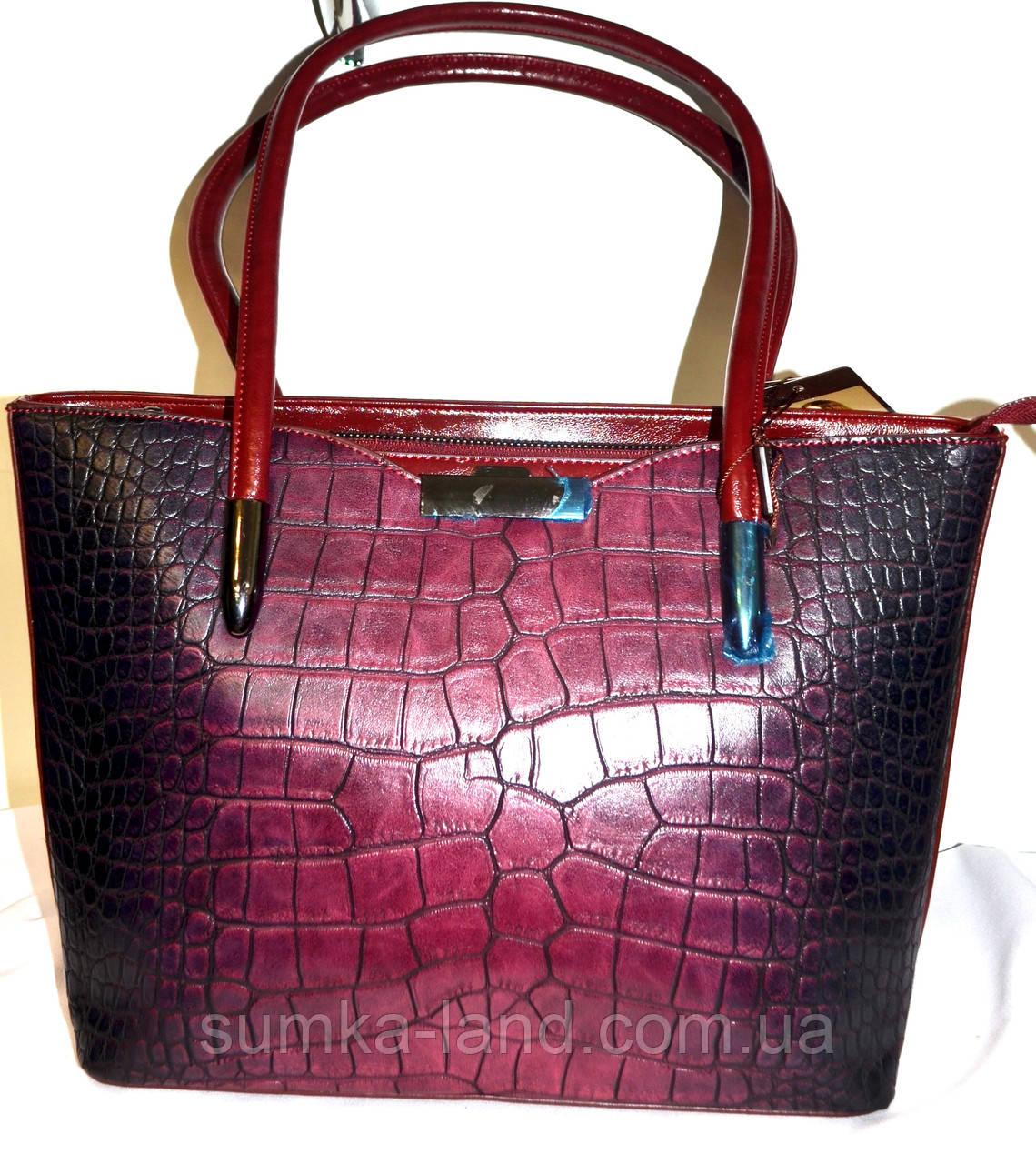 d90528e27a97 Женская бордовая сумка на плечо класса Люкс под рептилию 30*25 см ...