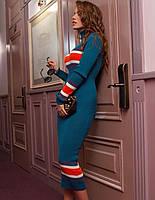 Женское вязанное платье с итальянской пряжи с добавлением хлопка в расцветках